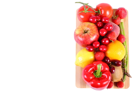 immunity: Fresh ripe fruits and vegetables, copy space for text, concept of healthy food, nutrition and strengthening immunity. White background
