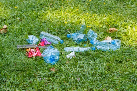 dispose: Heap of rubbish on grass in sunny park, plastic and glass bottles, bottle caps and paper, concept of environmental protection, littering of environment