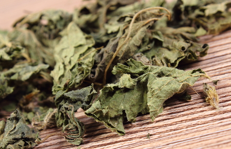 diuretic: Heap of healthy dried nettle on wooden table, concept for healthy nutrition and herbalism Stock Photo