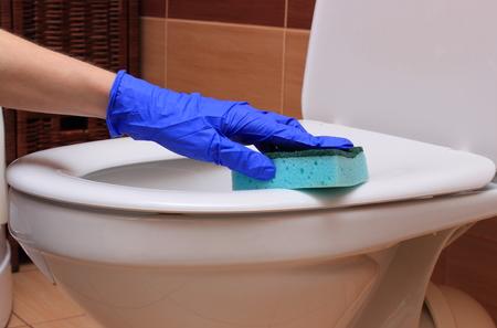 inodoro: Mano de mujer en guante azul limpiar la taza del inodoro, el concepto de limpieza de la casa y las tareas del hogar