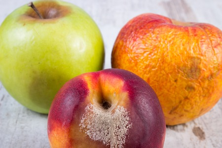 decompose: Spoiled, moldy and damaged peach and apple on old wooden white table, unhealthy eating Stock Photo