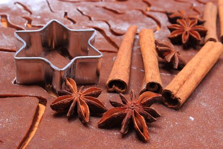 cookie cutters: Spice for baking, anise cinnamon sticks, cookie cutters on dough for gingerbread, concept of baking and christmas time