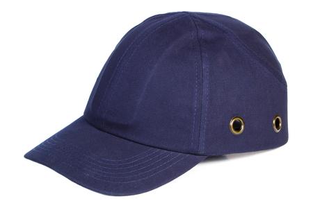 blue navy: Primer plano de la gorra de b�isbol azul marino aislado en el fondo blanco, la protecci�n contra el sol Foto de archivo