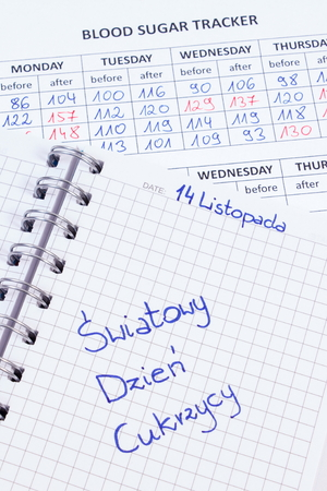 medical fight: Polish inscription world diabetes day written in notebook, medical forms with results of measurement of sugar, symbol of diabetic and fight against diabetes