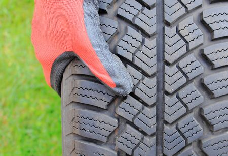 tyre tread: Profile structure of winter car tire, winter driving safety concept