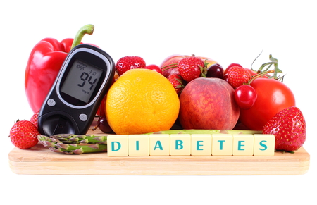 cherry: Glucometer with fresh ripe fruits and vegetables on wooden cutting board, concept of diabetes, healthy food, nutrition and strengthening immunity