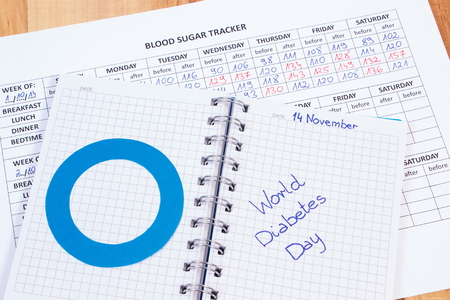 symbol: World diabetes day written in notebook, blue circle of paper and medical forms with results of measurement of sugar, symbol of diabetic and fight against diabetes
