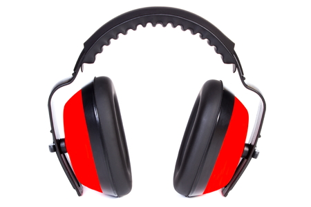 hearing protection: Protective headphones isolated on white background, safety at work, ear protection Stock Photo