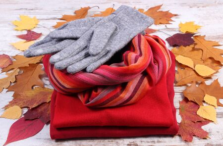 womanly: Womanly clothes and autumnal leaves, gloves shawl sweater, warm clothing for autumn or winter, old rustic wooden background