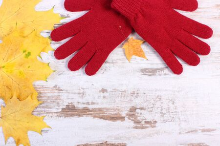 womanly: Womanly gloves and autumnal leaves, warm clothing for autumn or winter, old rustic wooden background