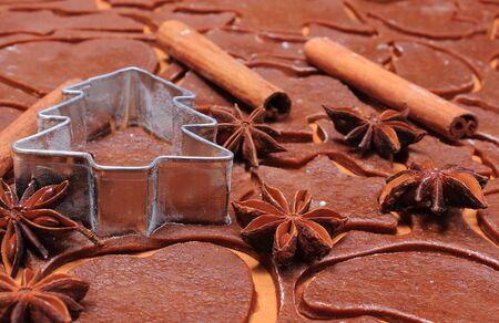 cookie cutters: Spice for baking and cookie cutters in shape of christmas tree on dough for Christmas cookies and gingerbread, concept of baking Stock Photo