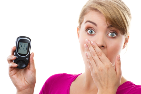 bad girl: Shocked and worry woman holding glucose meter with bad result of measurement sugar level, concept of diabetes, checking sugar level, white background