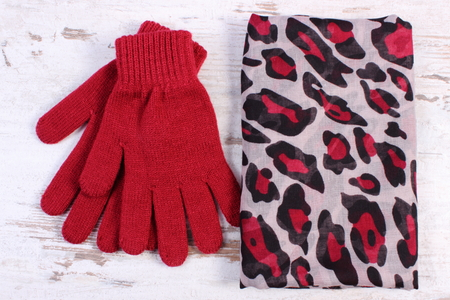 womanly: Pair of woolen gloves and colorful shawl for woman on old rustic wooden background, womanly accessories, warm clothing for autumn or winter