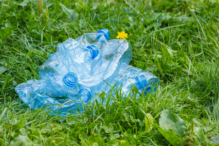 littering: Crushed plastic bottles of mineral water on grass in park, concept of environmental protection, littering of environment Stock Photo