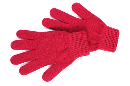 womanly: Pair of woolen gloves for woman on white background, womanly accessories, warm clothing for autumn or winter
