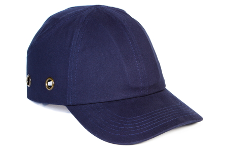 navy blue: Closeup of navy blue baseball cap isolated on white background, protection from sun