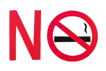 pernicious habit: Red no smoking sign made of paper with inscription no, symbol of prohibited smoking, healthy lifestyle without cigarettes Stock Photo