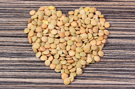green lentil: Heart shaped green lentil, concept for healthy eating and nutrition, symbol of love