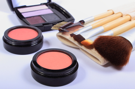 womanly: Set of professional brushes for makeup and cosmetics for woman, womanly cosmetics accessories