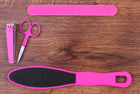 nail file: Accessories for manicure or pedicure, nail file, scraper, scissors, nail clippers, concept of nail, hand and foot care, copy space for text or inscription