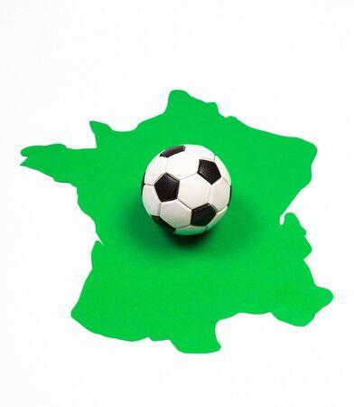 european championship: Soccer ball on green contour France, UEFA European Championship 2016