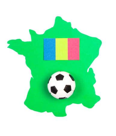 european championship: Soccer ball and flag European country on green contour France, UEFA European Championship 2016