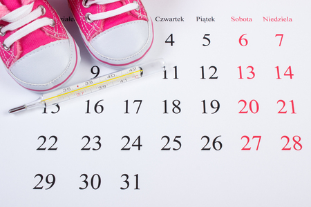 extending: Thermometer for measuring and shoes for newborn on calendar, concept of extending family and expecting for baby