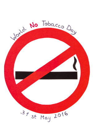 abstain: Red no smoking sign made of paper with inscription world no tobacco day, symbol of prohibited smoking, healthy lifestyle without cigarettes
