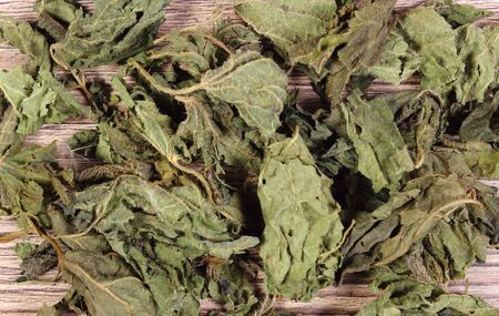 herbalism: Heap of healthy dried nettle on wooden table, concept for healthy nutrition and herbalism Stock Photo