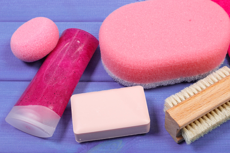 personal hygiene: Cosmetics and accessories for personal hygiene in bathroom, soap, body scrub, sponge, pumice, brush, concept of body care