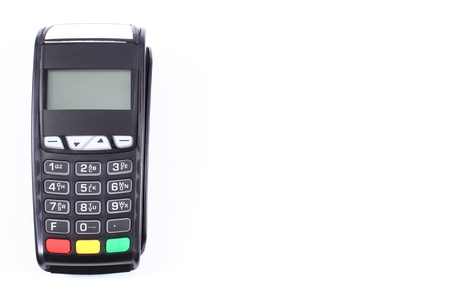 cashless: Payment terminal, credit card reader on white background, cashless paying for shopping, finance concept, copy space for text or inscription Stock Photo