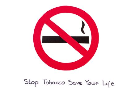 pernicious habit: Red no smoking sign made of paper with inscription stop tobacco save your life, symbol of prohibited smoking, healthy lifestyle, world no tobacco day