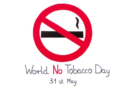 pernicious habit: Red no smoking sign made of paper with inscription world no tobacco day, symbol of prohibited smoking, healthy lifestyle without cigarettes