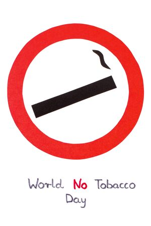 pernicious habit: Red no smoking sign made of paper with inscription world no tobacco day, symbol of prohibited smoking