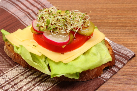 freshly prepared: Freshly prepared vegetarian sandwich with alfalfa and radish sprouts lying on wooden table