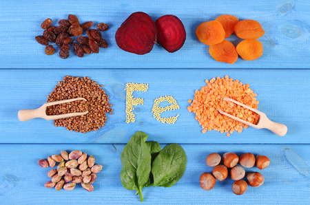 Inscription Fe, ingredients and products containing iron and dietary fiber, natural sources of ferrum, healthy lifestyle and nutrition