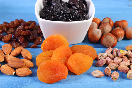ferrum: Ingredients containing ferrum and dietary fiber, natural sources of iron Stock Photo
