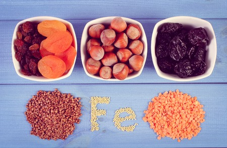 dietary fiber: Vintage photo, Inscription Fe, products and ingredients containing ferrum and dietary fiber, natural sources of iron Stock Photo