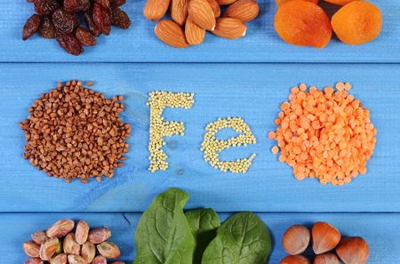 source of iron: Inscription Fe, products and ingredients containing iron and dietary fiber, natural sources of ferrum