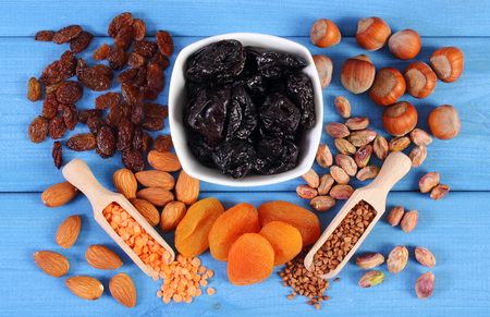 dietary fiber: Ingredients containing iron and dietary fiber, natural sources of ferrum Stock Photo