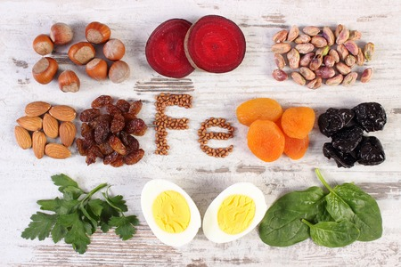 ferrum: Inscription Fe, ingredients and product containing iron and dietary fiber, natural sources of ferrum, healthy lifestyle, food and nutrition