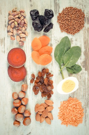 ferrum: Vintage photo, Ingredients and product containing iron and dietary fiber, natural sources of ferrum, healthy lifestyle and nutrition Stock Photo