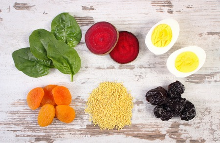 ferrum: Ingredients and products containing iron and dietary fiber, natural sources of ferrum, healthy lifestyle, food and nutrition Stock Photo