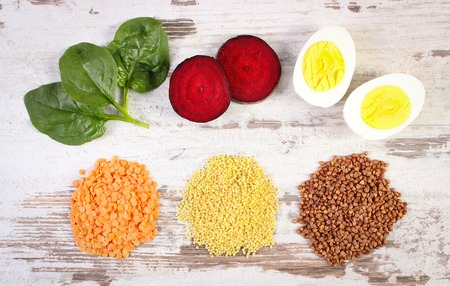 source of iron: Ingredients and products containing iron and dietary fiber, natural sources of ferrum, healthy lifestyle, food and nutrition Stock Photo