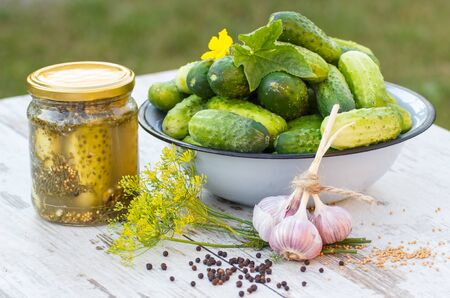pickling: Ripe cucumbers in metal bowl, spices for pickling and jar pickled cucumbers on old wooden white table in garden on sunny day, food and nutrition Stock Photo