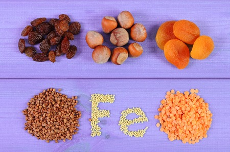 ferrum: Inscription Fe, products and ingredients containing iron and dietary fiber, natural sources of ferrum, healthy lifestyle, food and nutrition