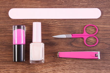clippers: Cosmetics and accessories for manicure or pedicure, nail file, nail polish, scissors, nail clippers, concept of nail care