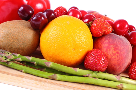 immunity: Fresh ripe fruits and vegetables, concept of healthy food, nutrition and strengthening immunity. White background Stock Photo