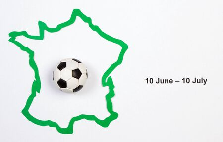 european championship: Soccer ball and contour France, UEFA European Championship 2016 Stock Photo