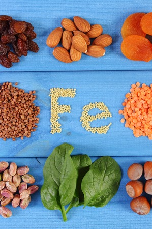 source of iron: Inscription Fe, products and ingredients containing iron and dietary fiber, natural sources of ferrum, healthy food and nutrition